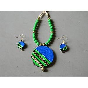 Shingles d'sire Daily Wear Set in Green & Blue jewellery Set