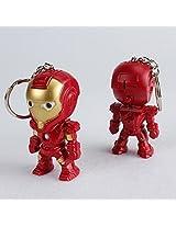 Iron Man Avengers PVC Figure KeyChain with LED and Sound Key Ring KeyChain