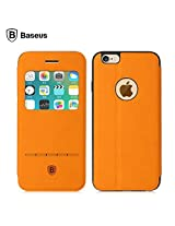 BASEUS TERSE LEATHER CASE FLIP COVER FOR IPHONE 6 R 6S (ORANGE)