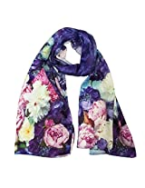 Wrapables Luxurious 100% Charmeuse Silk Long Scarf with Hand Rolled Edges, Floral Cascade