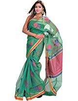 Exotic India Fern-Green Saree from Varanasi with Woven Flowers and Plain - Green