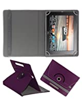 ACM ROTATING 360° LEATHER FLIP CASE FOR HCL ME G1 TABLET STAND COVER HOLDER PURPLE