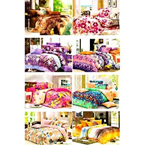 Sai Arpan Set Of 8 Designer Double Bed Sheets With 16 Pillow Covers