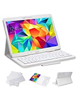"""SUPERNIGHT Samsung Galaxy Tab 4 10.1 Case with Keyboard - Ultra Slim Detachable Bluetooth Keyboard Portfolio Leather Case Cover for Samsung Tab 4 10.1"""" Inch T530 T531 T535 Tablet , White Color"""