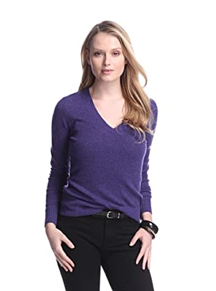 Cashmere Addiction Women's Long Sleeve V-Neck Sweater (Twilight)