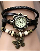 Elegant Black Leather Vintage Butterfly Bracelet Watch