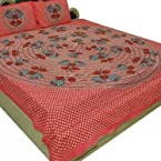 Shop Rajasthan cotton Double bedsheet with two pillow covers -Multicolor