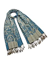 Dahlia Women's Scarf Shawl - Reversible Blooming Floral Garden - Teal Blue