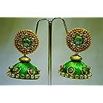 green silk thread jhumkas with stud