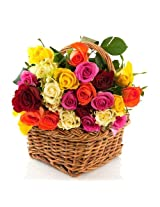Basket of multicolor roses