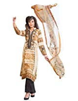 IndiWeaves Women Cotton Printed Beige Dress Material