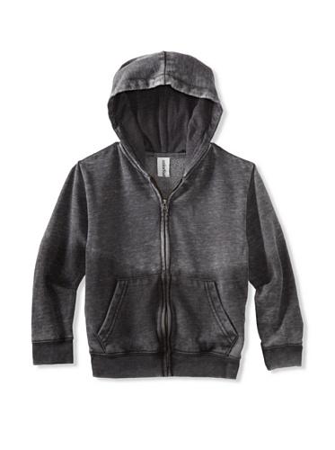 Colorfast Apparel Boy's Burnout/Dip Dye Zip Hoodie (Charcoal/Black)