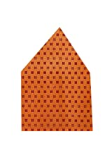 Navaksha Orange Self Design Pocket Square