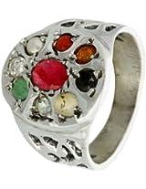 Exotic India Navaratna Ring - Sterling Silver Ring Size 7