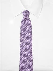 Aquascutum Men's Floral Silk Tie (Lavender/White)
