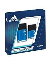 Adidas Moves By Coty For Men 2 Piece Set 1.0 Oz Edt Spray + 0.5 Oz Edt Spray
