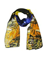 Wrapables Luxurious 100% Charmeuse Silk Long Scarf with Hand Rolled Edges, Van Gogh's Cafe Terrace at Night