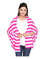 Lycra blend pink and white fur stole