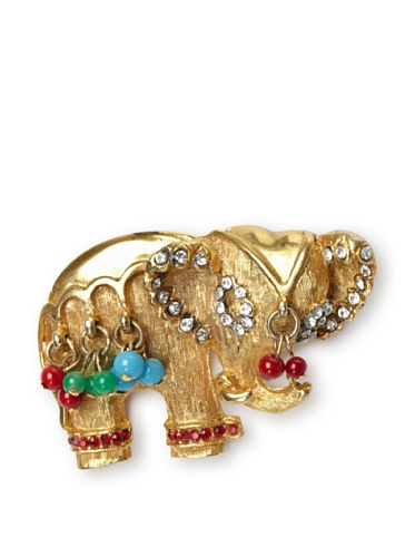 Lulu Frost 1950's Art Deco Elephant Brooch, Gold