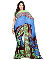 Admyrin Maroon and Sky Blue Printed Saree with Green Blouse