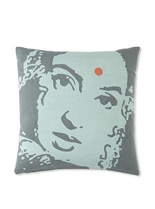 Zalva Ikat Pillow, Teal/Gray, 18