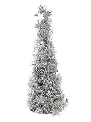 Árbol Navidad De Espumillón Plata