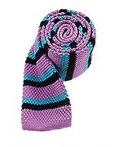 Scott Allan Men's Knit Necktie - Purple/Black/Teal