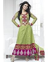 Aayushman Women Net Dress Material (Man15934 _Green)
