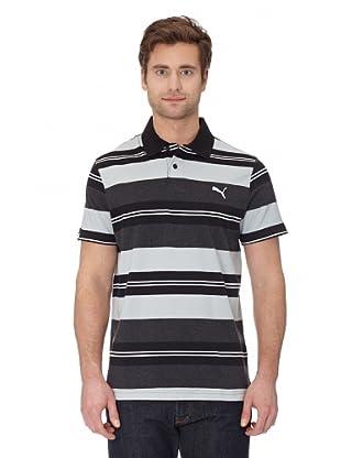 Puma Polo Shirt Striped Polo (black-quarry-dark heather)