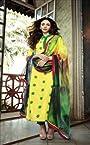 Aditi Rao Cotton Jequard Yellow Green Embroidered Dress Material SC9059