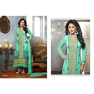 Style Closet's Sky Blue Colored Fashion Wear Embroidered Pakistani Salwar Kameez Modelled By Heena Khan