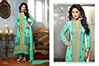 Sky Blue Latest Embroidered Pakistani Salwar Kameez Modelled By Heena Khan