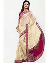 Cream Embroidered Saree Touch Trends