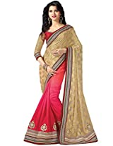 Ethnic Station Pink Embroidered Saree