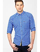Checks Blue Slim Fit Casual Shirt Basics