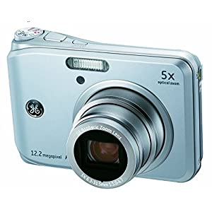 GE A1250-BK 12MP Digital Camera with 5X Optical Zoom and 2.5 Inch LCD with Auto Brightness - Silver