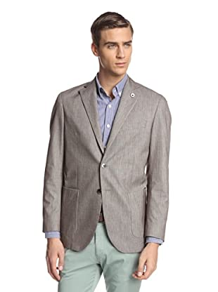 Lubiam Men's Unconstructed Two Button Patch Pocket Sport Coat (Light Brown)