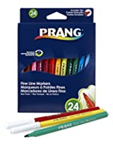 Prang Fine Line Washable Markers, 24 Markers, Assorted Colors (80715)
