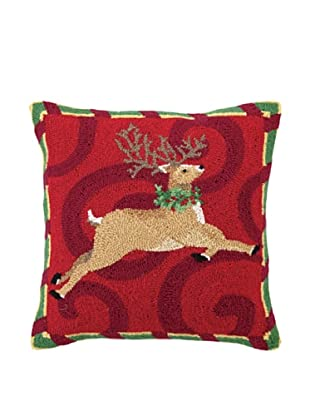 Sally Eckman Roberts Leaping Reindeer Hook Pillow,18X18