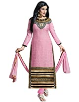 Vibes Women Georgette Salwar Suit Dress Material (V201-3501 _Pink _Free Size)