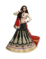 Esthetic Black And Golden semi stitched lehenga with 60 Gm Georgette and Gota fabric