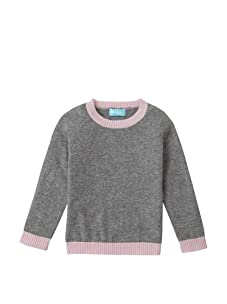 Bambeeno Girl's Heart Patch Crewneck Sweater (Grey/Light Pink)