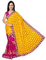 Chinco Embroidered Saree With Blouse Piece (592-A_Yellow & Pink)