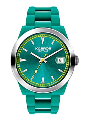 K&BROS 9539-6 / Reloj Unisex con correa de caucho Verde Agua