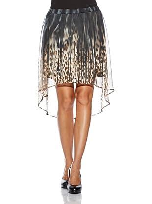 Vero Moda Falda Print Leopardo (Negro / Marrón)