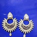 White AD stones chand bali Earrings