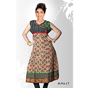 Cream green casual wear anarkali style kurti