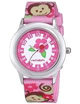 Red Balloon Kids W000335 Pretty Girl Monkey Stainless Steel Time Teacher Printed Strap Watch