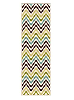 Universal Rugs Garden City Indoor/Outdoor Transitional Runner, Multi, 3' x 8'