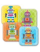 French Bull 8-Inch Melamine Plate, Robot Kids, Set of 4